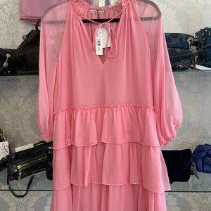 ALICE + OLIVIA Electric Pink Silk Shift Dress Style#CC003013520
